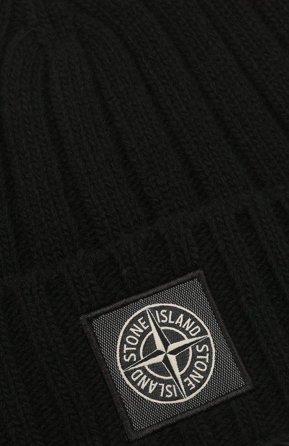 Мужская шерстяная шапка STONE ISLAND черного цвета, арт. 7515N24B5 | Фото 3 (Материал: Шерсть; Кросс-КТ: Трикотаж)