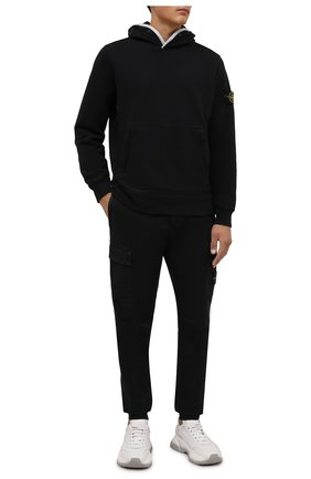 Мужской хлопковое худи STONE ISLAND черного цвета, арт. 751560620 | Фото 2