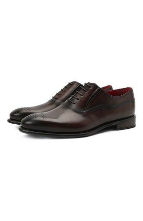 Мужские кожаные оксфорды BARRETT темно-коричневого цвета, арт. 192U091.19/BETIS CREAM | Фото 1 (Материал внутренний: Натуральная кожа; Стили: Классический; Мужское Кросс-КТ: Броги-обувь)