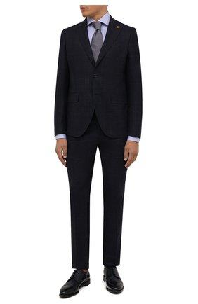 Мужские кожаные дерби BARRETT темно-синего цвета, арт. 211U037.11/BETIS CREAM | Фото 2 (Материал внутренний: Натуральная кожа; Стили: Классический; Мужское Кросс-КТ: Броги-обувь)