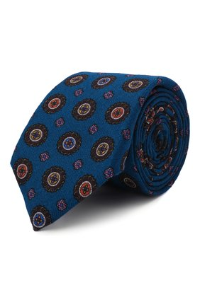 Мужской шерстяной галстук CANALI синего цвета, арт. 18/HS03276   Фото 1 (Материал: Шерсть; Принт: С принтом)