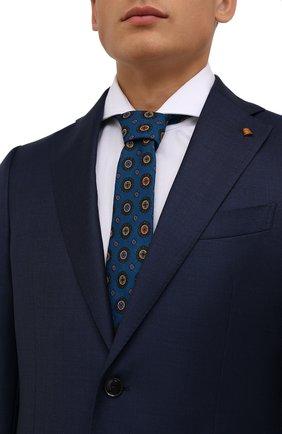 Мужской шерстяной галстук CANALI синего цвета, арт. 18/HS03276   Фото 2 (Материал: Шерсть; Принт: С принтом)