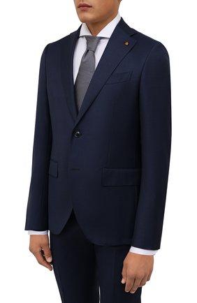 Мужской шерстяной костюм SARTORIA LATORRE темно-синего цвета, арт. A6I7EF U81173 | Фото 2 (Рукава: Длинные; Материал подклада: Купро; Материал внешний: Шерсть; Костюмы М: Однобортный; Стили: Классический)