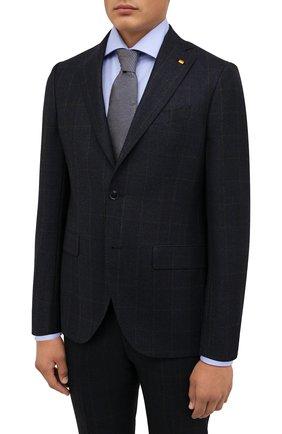 Мужской шерстяной костюм SARTORIA LATORRE темно-синего цвета, арт. A6I7EF QA0663 | Фото 2 (Материал подклада: Купро; Материал внешний: Шерсть; Рукава: Длинные; Костюмы М: Однобортный; Стили: Классический)