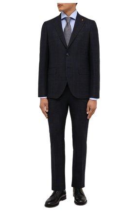 Мужской шерстяной костюм SARTORIA LATORRE темно-синего цвета, арт. A6I7EF Q81033 | Фото 1 (Материал внешний: Шерсть; Рукава: Длинные; Материал подклада: Купро; Костюмы М: Однобортный; Стили: Классический)