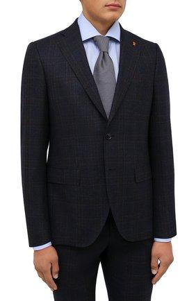 Мужской шерстяной костюм SARTORIA LATORRE темно-синего цвета, арт. A6I7EF Q81033 | Фото 2 (Материал внешний: Шерсть; Рукава: Длинные; Материал подклада: Купро; Костюмы М: Однобортный; Стили: Классический)