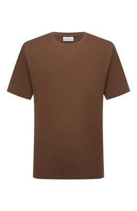 Мужская хлопковая футболка DRIES VAN NOTEN светло-коричневого цвета, арт. 212-021194-3600 | Фото 1 (Рукава: Короткие; Материал внешний: Хлопок; Длина (для топов): Стандартные; Принт: Без принта; Стили: Кэжуэл)