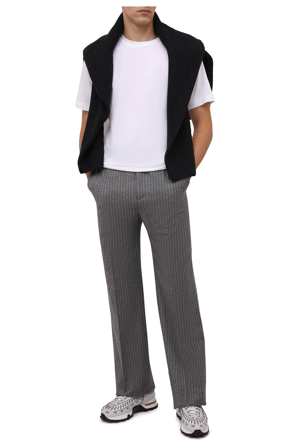 Мужская хлопковая футболка DRIES VAN NOTEN белого цвета, арт. 212-021194-3600 | Фото 2 (Принт: Без принта; Рукава: Короткие; Длина (для топов): Стандартные; Материал внешний: Хлопок; Стили: Кэжуэл)