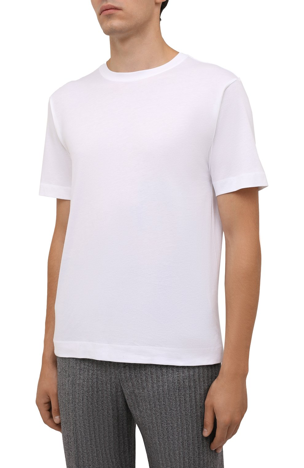 Мужская хлопковая футболка DRIES VAN NOTEN белого цвета, арт. 212-021194-3600 | Фото 3 (Принт: Без принта; Рукава: Короткие; Длина (для топов): Стандартные; Материал внешний: Хлопок; Стили: Кэжуэл)