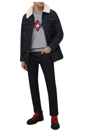 Мужской хлопковый свитшот CANALI серого цвета, арт. T0711/MY01321 | Фото 2 (Рукава: Длинные; Материал внешний: Хлопок; Длина (для топов): Стандартные; Мужское Кросс-КТ: свитшот-одежда; Принт: С принтом; Стили: Кэжуэл)