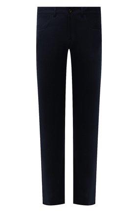 Мужские шерстяные брюки CANALI темно-синего цвета, арт. V1551/AR03472 | Фото 1 (Материал внешний: Шерсть; Длина (брюки, джинсы): Стандартные; Случай: Повседневный; Стили: Кэжуэл)