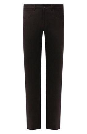 Мужские шерстяные брюки CANALI темно-коричневого цвета, арт. V1551/AR03472 | Фото 1 (Материал внешний: Шерсть; Длина (брюки, джинсы): Стандартные; Случай: Повседневный; Стили: Кэжуэл)