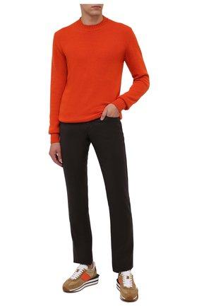 Мужские шерстяные брюки CANALI темно-коричневого цвета, арт. V1551/AR03472 | Фото 2 (Материал внешний: Шерсть; Длина (брюки, джинсы): Стандартные; Случай: Повседневный; Стили: Кэжуэл)