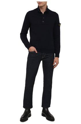 Мужской шерстяной свитер STONE ISLAND темно-синего цвета, арт. 7515540A3 | Фото 2 (Рукава: Длинные; Длина (для топов): Стандартные; Материал внешний: Шерсть; Принт: Без принта; Стили: Кэжуэл; Мужское Кросс-КТ: Свитер-одежда)