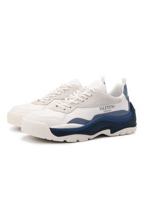 Мужские кожаные кроссовки gumboy VALENTINO синего цвета, арт. WY2S0B17/MQB   Фото 1 (Материал внутренний: Текстиль; Стили: Гранж; Подошва: Массивная)