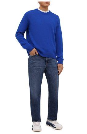 Мужские кожаные кроссовки gumboy VALENTINO синего цвета, арт. WY2S0B17/MQB   Фото 2 (Материал внутренний: Текстиль; Стили: Гранж; Подошва: Массивная)