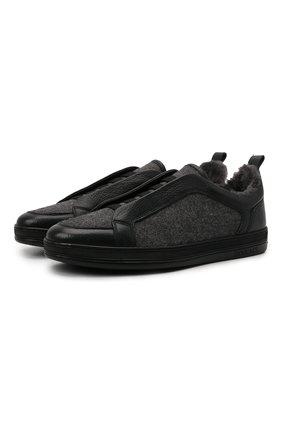 Мужские комбинированные кеды DOUCAL'S черного цвета, арт. DU2511GENTPM208NN00 | Фото 1 (Подошва: Массивная; Материал внешний: Текстиль; Материал утеплителя: Натуральный мех)
