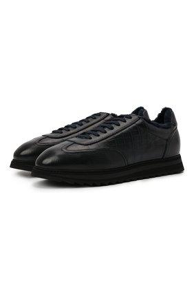Мужские кожаные кроссовки DOUCAL'S темно-синего цвета, арт. DU2880WINNPM0192B00 | Фото 1 (Материал утеплителя: Натуральный мех; Подошва: Массивная; Стили: Классический)