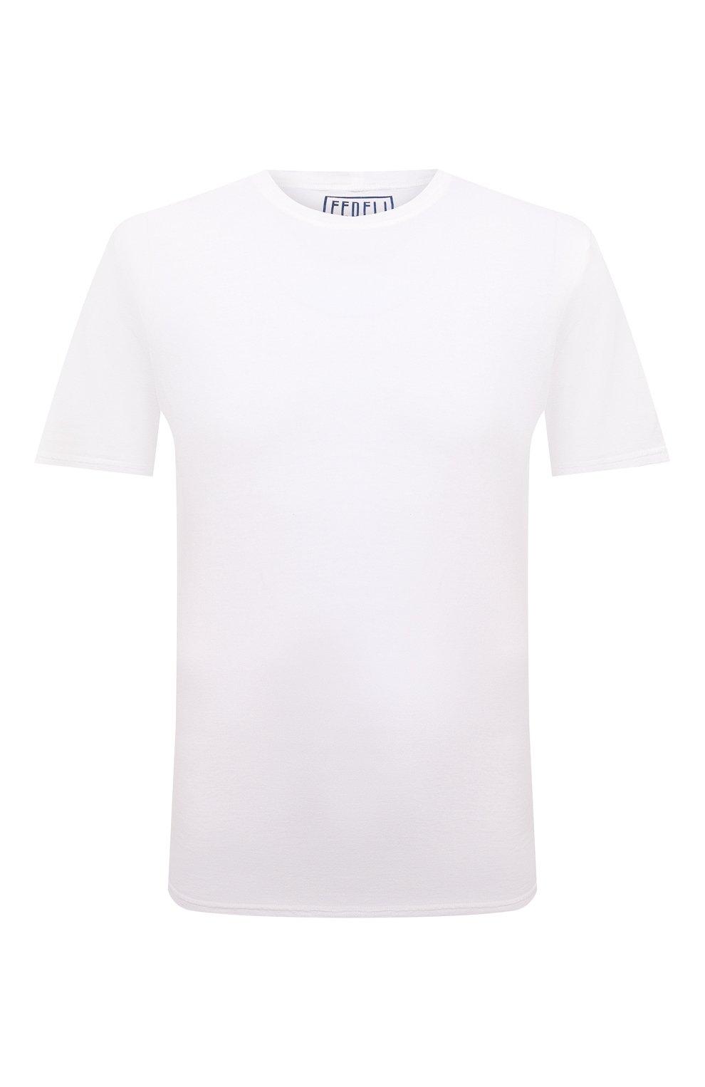 Мужская хлопковая футболка FEDELI белого цвета, арт. 4UIF0113   Фото 1 (Принт: Без принта; Рукава: Короткие; Длина (для топов): Стандартные; Материал внешний: Хлопок; Стили: Кэжуэл)