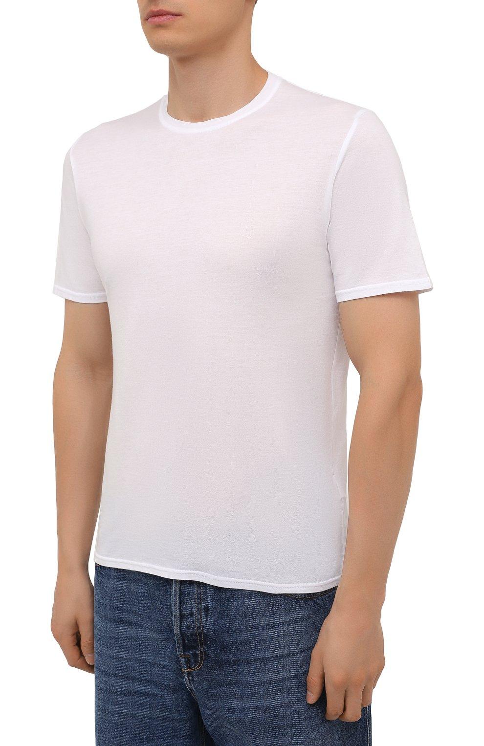 Мужская хлопковая футболка FEDELI белого цвета, арт. 4UIF0113   Фото 3 (Принт: Без принта; Рукава: Короткие; Длина (для топов): Стандартные; Материал внешний: Хлопок; Стили: Кэжуэл)