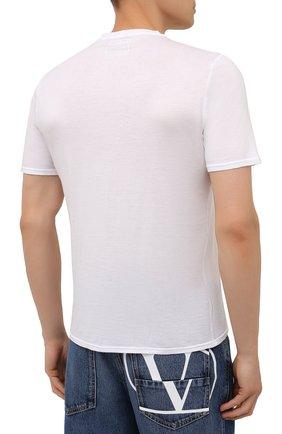Мужская хлопковая футболка FEDELI белого цвета, арт. 4UIF0113   Фото 4 (Принт: Без принта; Рукава: Короткие; Длина (для топов): Стандартные; Материал внешний: Хлопок; Стили: Кэжуэл)