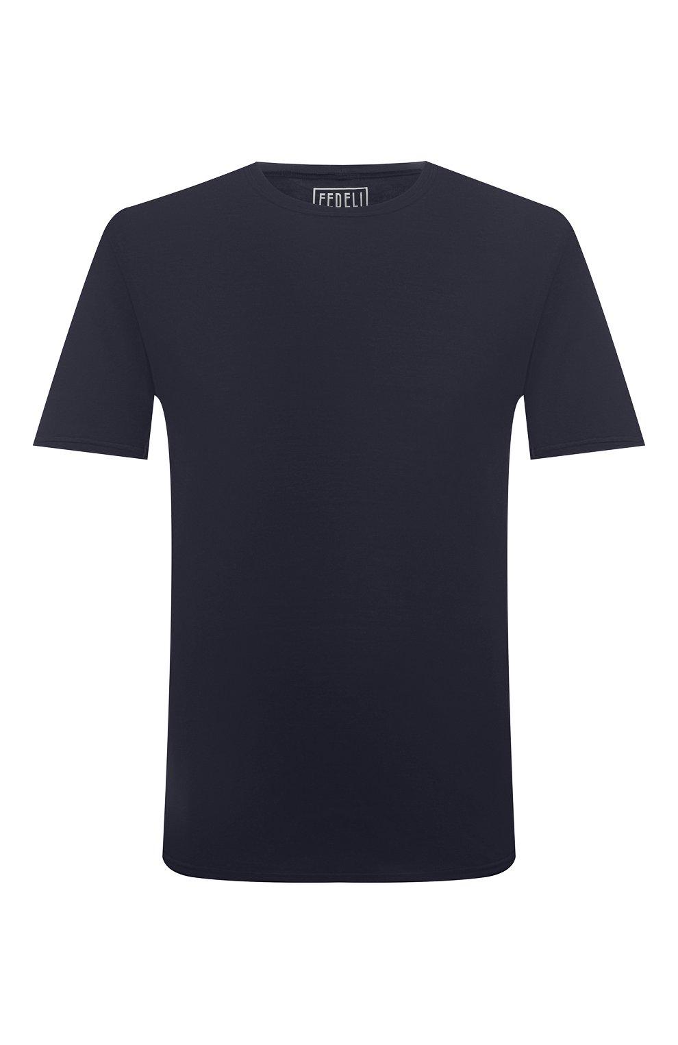 Мужская хлопковая футболка FEDELI темно-синего цвета, арт. 4UIF0113   Фото 1 (Принт: Без принта; Рукава: Короткие; Длина (для топов): Стандартные; Материал внешний: Хлопок; Стили: Кэжуэл)