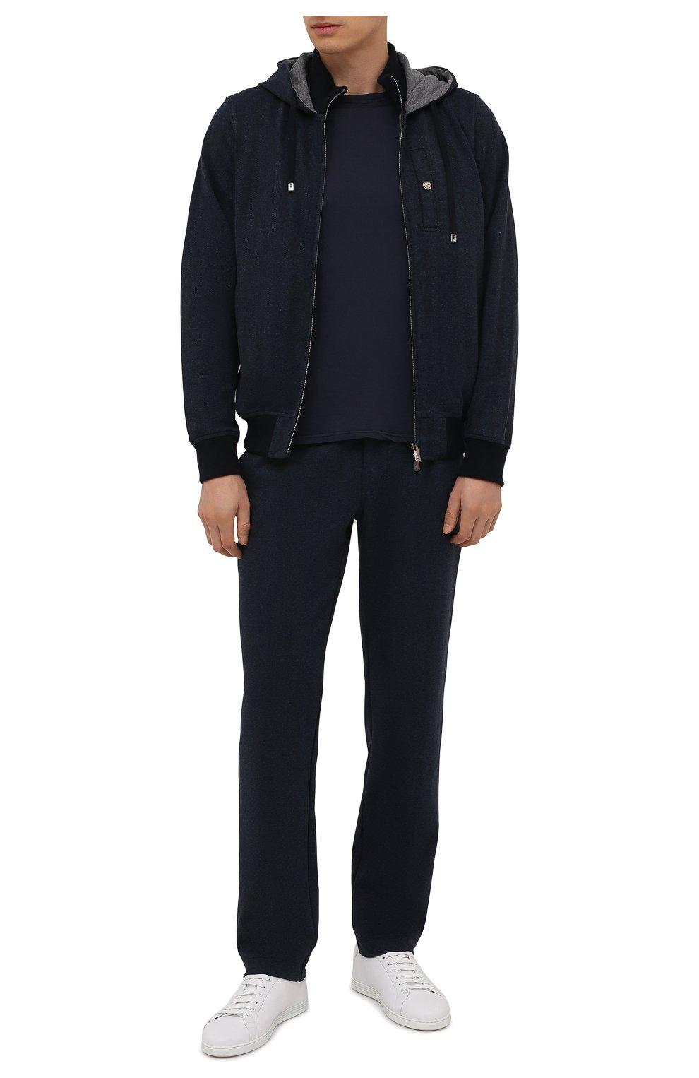 Мужская хлопковая футболка FEDELI темно-синего цвета, арт. 4UIF0113   Фото 2 (Принт: Без принта; Рукава: Короткие; Длина (для топов): Стандартные; Материал внешний: Хлопок; Стили: Кэжуэл)