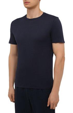 Мужская хлопковая футболка FEDELI темно-синего цвета, арт. 4UIF0113   Фото 3 (Принт: Без принта; Рукава: Короткие; Длина (для топов): Стандартные; Материал внешний: Хлопок; Стили: Кэжуэл)