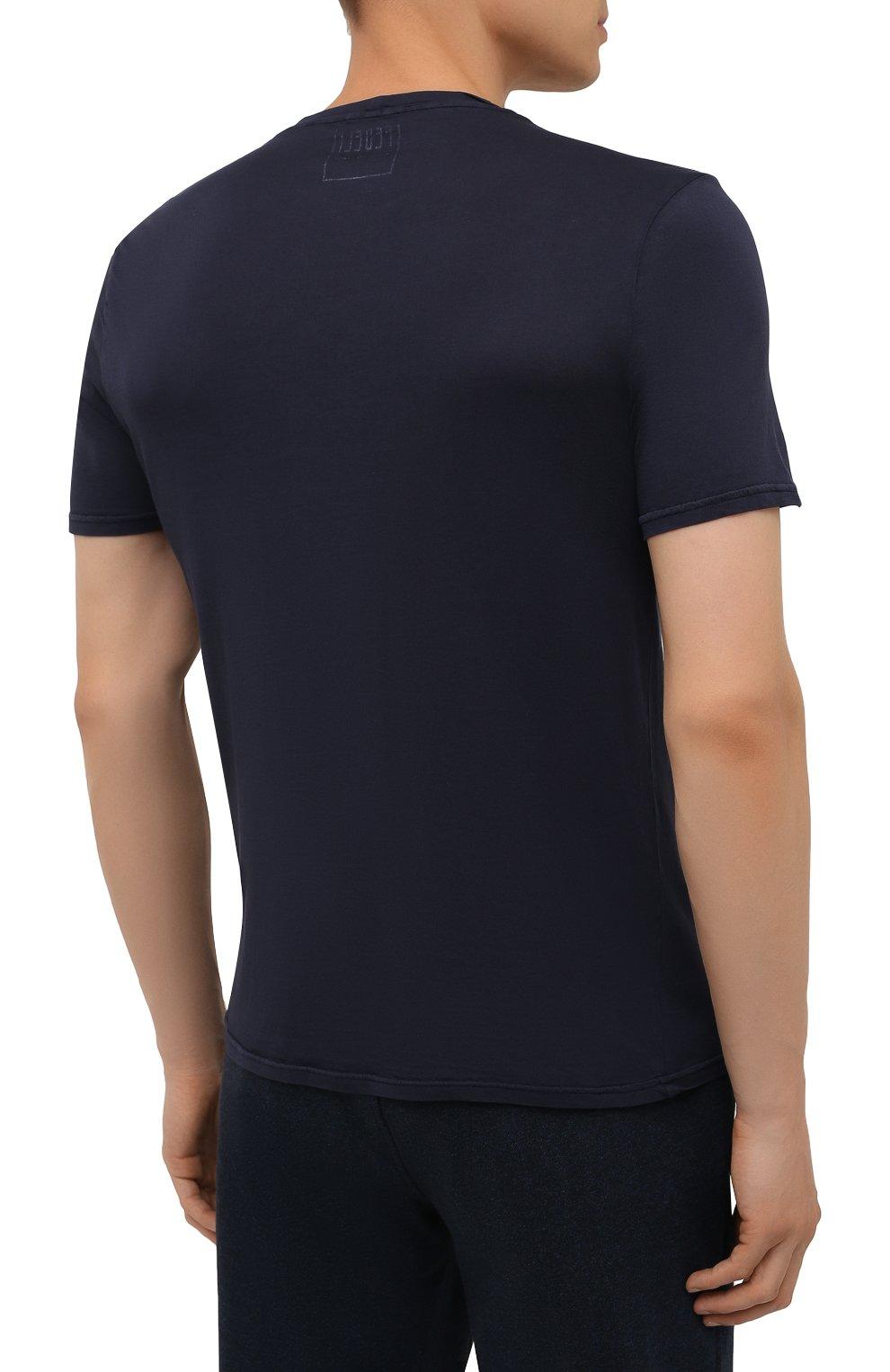 Мужская хлопковая футболка FEDELI темно-синего цвета, арт. 4UIF0113   Фото 4 (Принт: Без принта; Рукава: Короткие; Длина (для топов): Стандартные; Материал внешний: Хлопок; Стили: Кэжуэл)