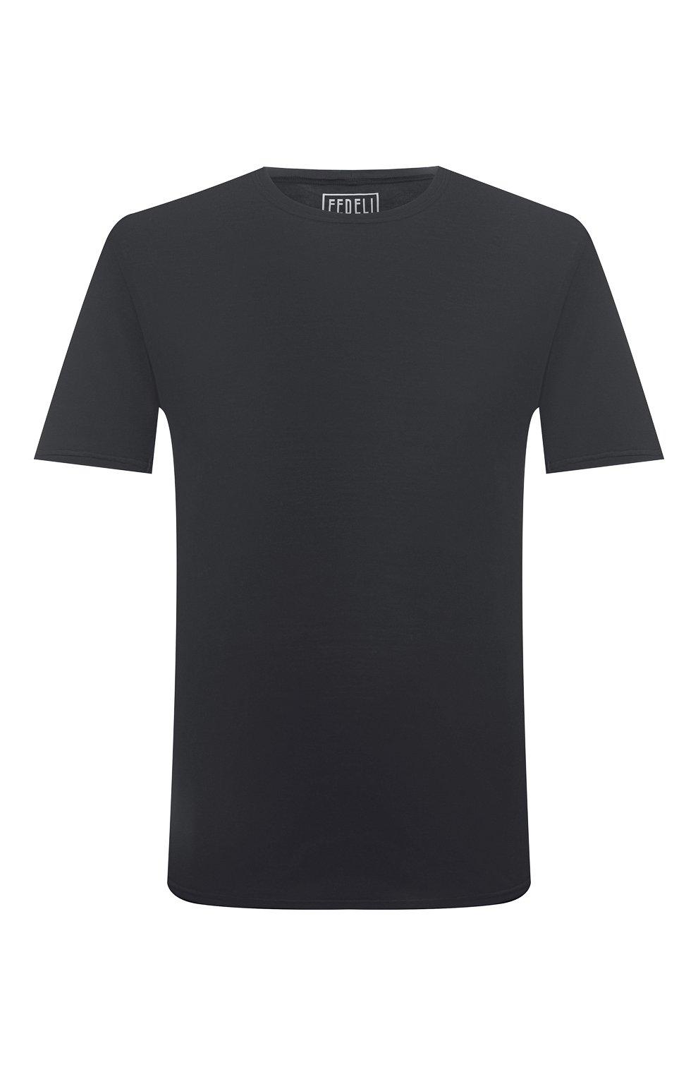 Мужская хлопковая футболка FEDELI темно-серого цвета, арт. 4UIF0113   Фото 1 (Принт: Без принта; Рукава: Короткие; Длина (для топов): Стандартные; Материал внешний: Хлопок; Стили: Кэжуэл)