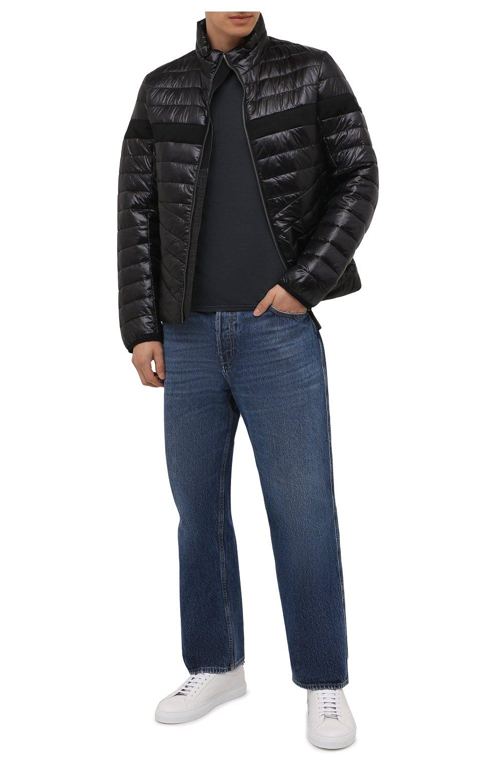 Мужская хлопковая футболка FEDELI темно-серого цвета, арт. 4UIF0113   Фото 2 (Принт: Без принта; Рукава: Короткие; Длина (для топов): Стандартные; Материал внешний: Хлопок; Стили: Кэжуэл)