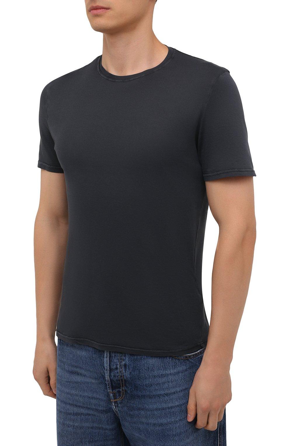 Мужская хлопковая футболка FEDELI темно-серого цвета, арт. 4UIF0113   Фото 3 (Принт: Без принта; Рукава: Короткие; Длина (для топов): Стандартные; Материал внешний: Хлопок; Стили: Кэжуэл)