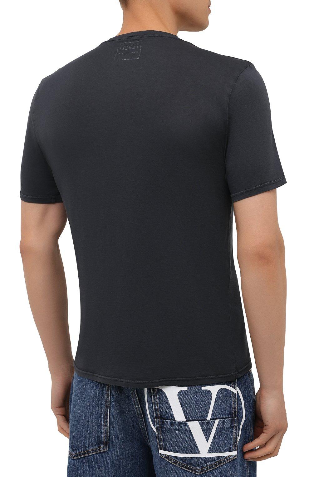 Мужская хлопковая футболка FEDELI темно-серого цвета, арт. 4UIF0113   Фото 4 (Принт: Без принта; Рукава: Короткие; Длина (для топов): Стандартные; Материал внешний: Хлопок; Стили: Кэжуэл)