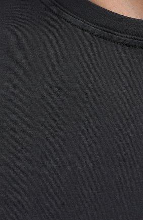 Мужская хлопковая футболка FEDELI темно-серого цвета, арт. 4UIF0113   Фото 5 (Принт: Без принта; Рукава: Короткие; Длина (для топов): Стандартные; Материал внешний: Хлопок; Стили: Кэжуэл)