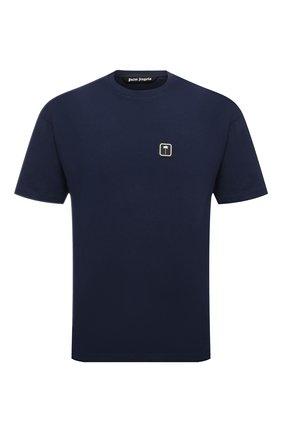 Мужская хлопковая футболка PALM ANGELS темно-синего цвета, арт. PMAA001F21JER0124601   Фото 1 (Рукава: Короткие; Материал внешний: Хлопок; Длина (для топов): Стандартные; Принт: Без принта; Стили: Гранж)