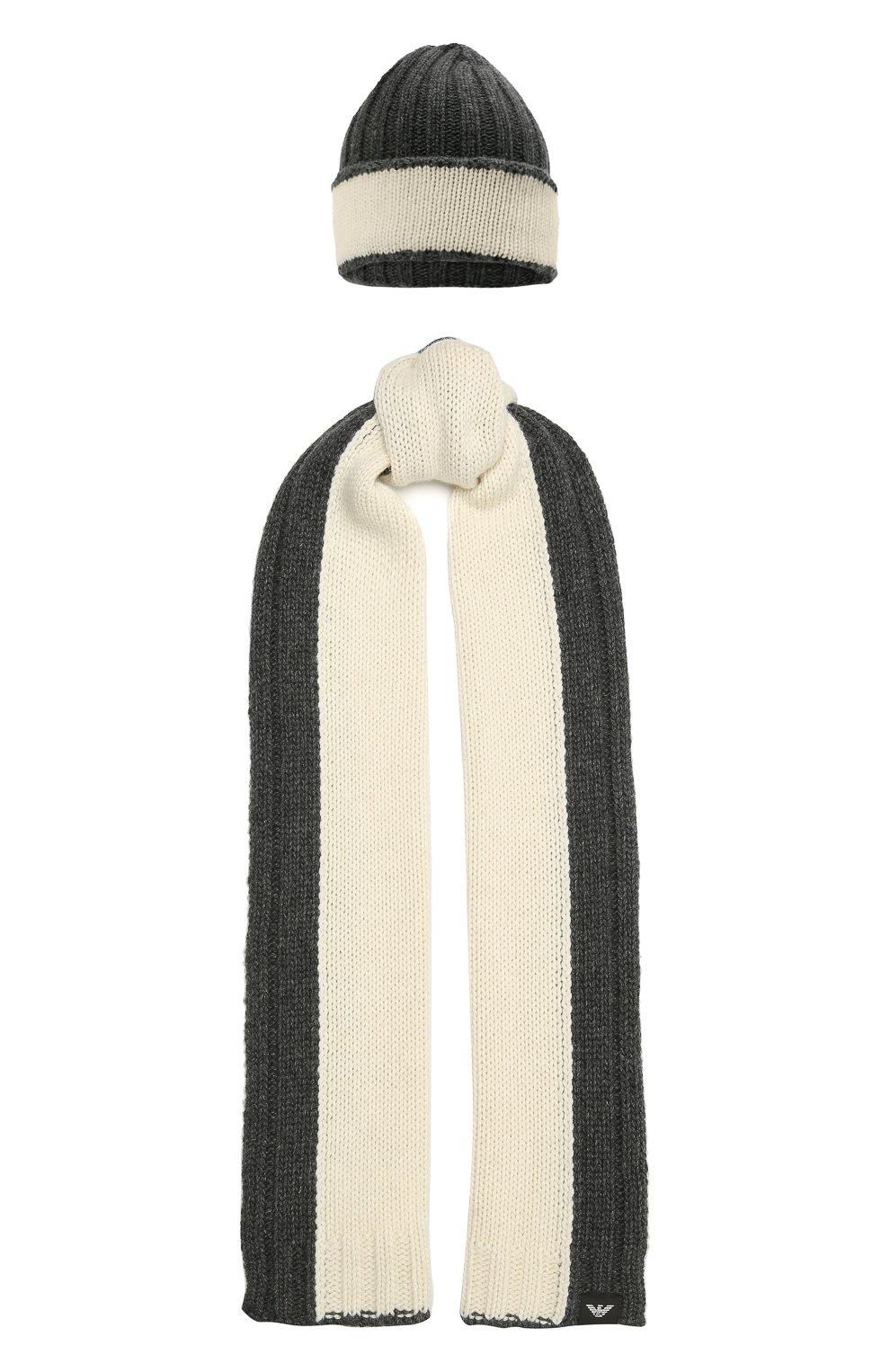 Детский комплект из шапки и шарфа EMPORIO ARMANI серого цвета, арт. 407515/1A767 | Фото 1 (Материал: Текстиль, Шерсть, Вискоза)