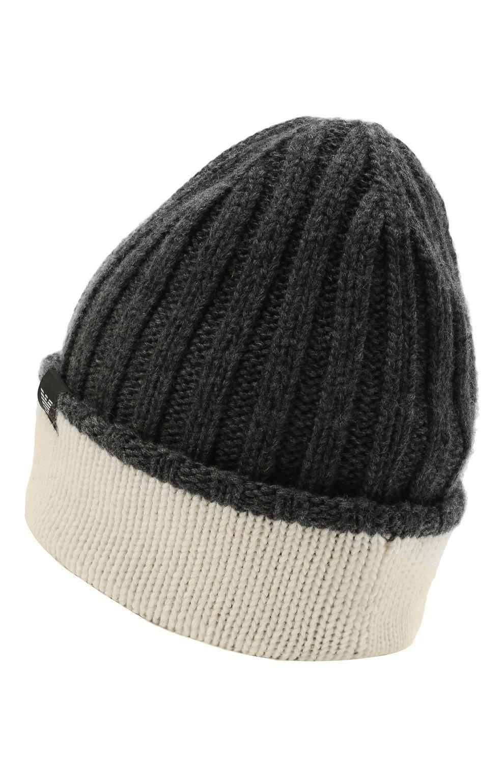 Детский комплект из шапки и шарфа EMPORIO ARMANI серого цвета, арт. 407515/1A767 | Фото 3 (Материал: Текстиль, Шерсть, Вискоза)