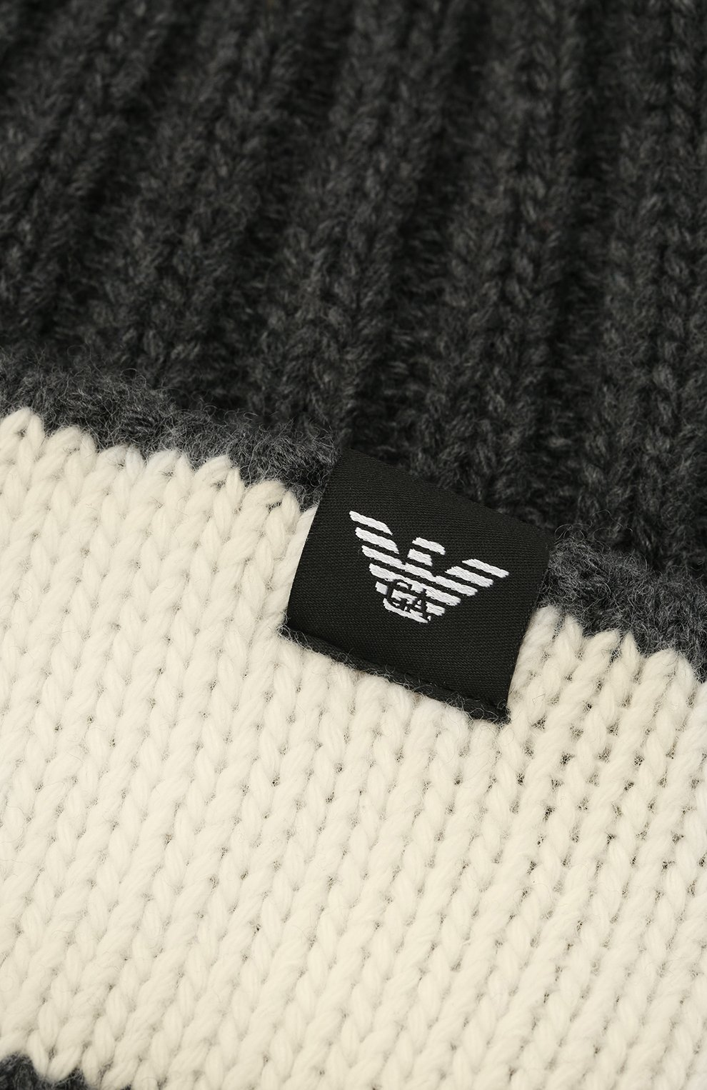 Детский комплект из шапки и шарфа EMPORIO ARMANI серого цвета, арт. 407515/1A767 | Фото 4 (Материал: Текстиль, Шерсть, Вискоза)