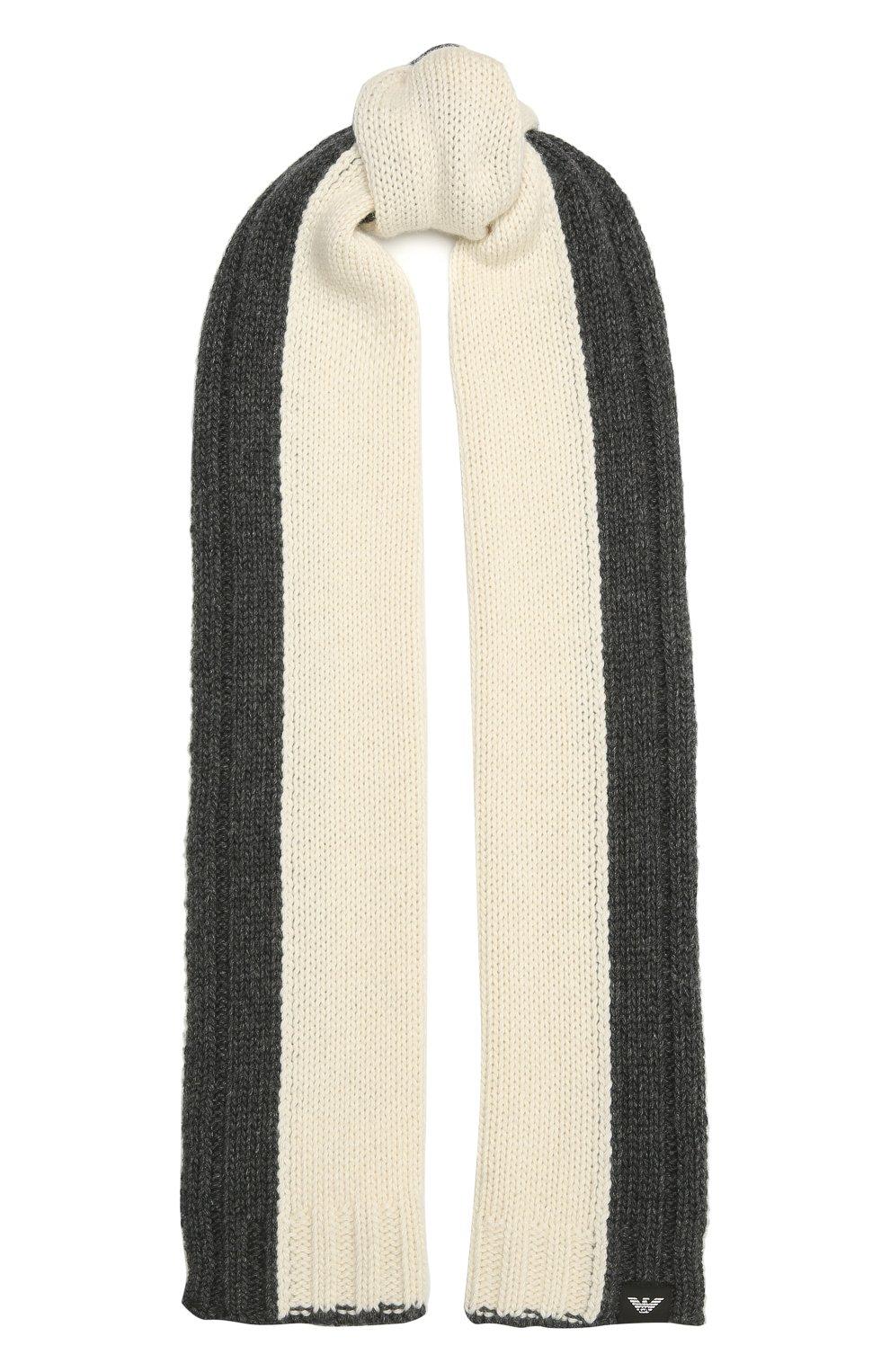 Детский комплект из шапки и шарфа EMPORIO ARMANI серого цвета, арт. 407515/1A767 | Фото 5 (Материал: Текстиль, Шерсть, Вискоза)