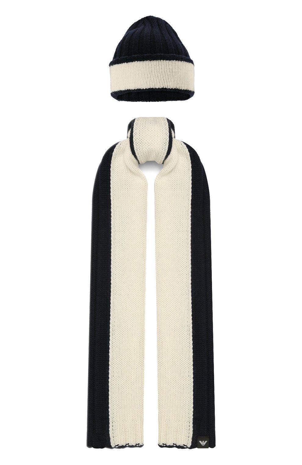 Детский комплект из шапки и шарфа EMPORIO ARMANI синего цвета, арт. 407515/1A767   Фото 1 (Материал: Текстиль, Шерсть, Вискоза)