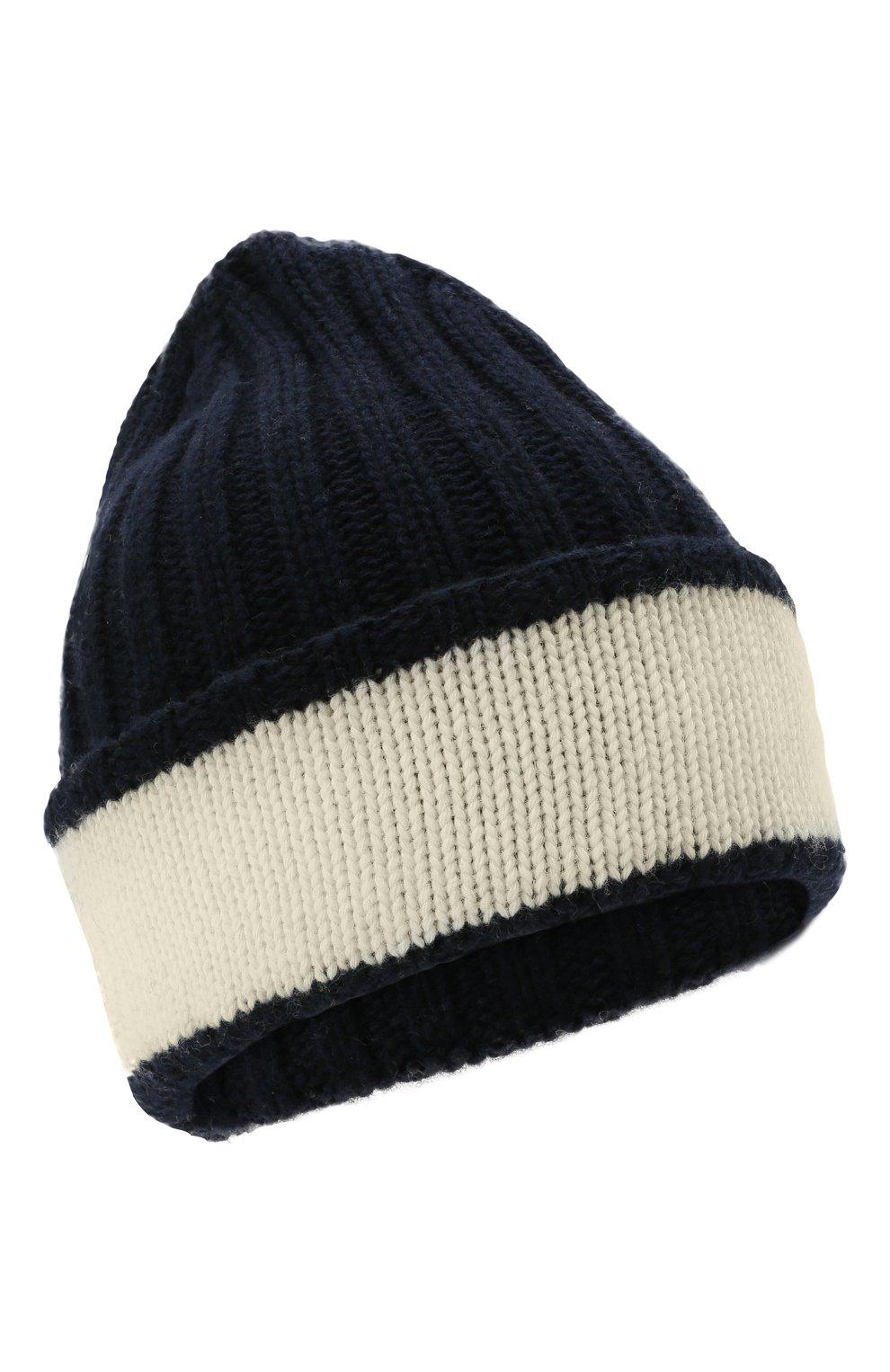 Детский комплект из шапки и шарфа EMPORIO ARMANI синего цвета, арт. 407515/1A767   Фото 2 (Материал: Текстиль, Шерсть, Вискоза)