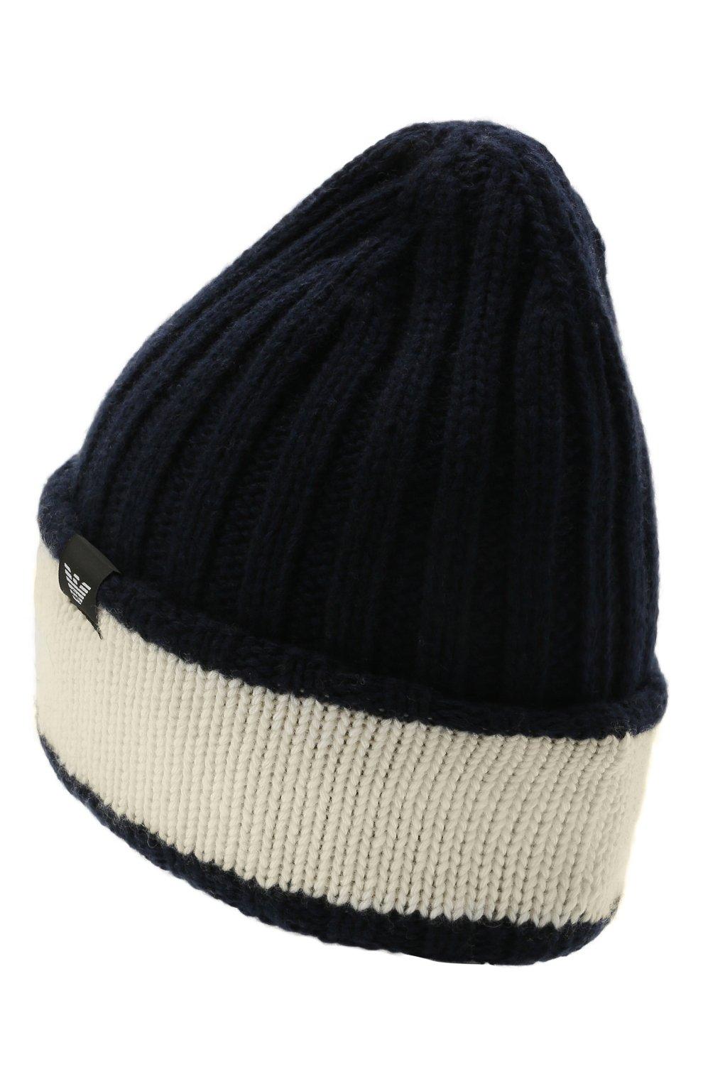 Детский комплект из шапки и шарфа EMPORIO ARMANI синего цвета, арт. 407515/1A767   Фото 3 (Материал: Текстиль, Шерсть, Вискоза)