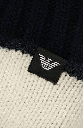 Детский комплект из шапки и шарфа EMPORIO ARMANI синего цвета, арт. 407515/1A767   Фото 4 (Материал: Текстиль, Шерсть, Вискоза)