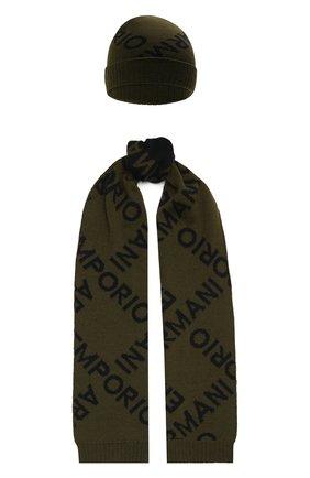 Детский комплект из шапки и шарфа EMPORIO ARMANI хаки цвета, арт. 407312/1A712 | Фото 1