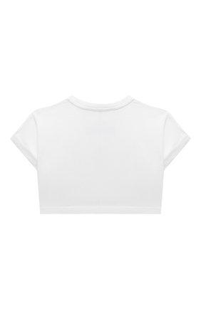 Детский хлопковый топ DOLCE & GABBANA белого цвета, арт. L5JTGG/G7BIX/2-6 | Фото 2 (Материал внешний: Хлопок; Рукава: Короткие; Девочки Кросс-КТ: футболка-одежда, топ-одежда; Ростовка одежда: 2 года | 92 см, 3 года | 98 см, 4 года | 104 см, 5 лет | 110 см, 6 лет | 116 см)