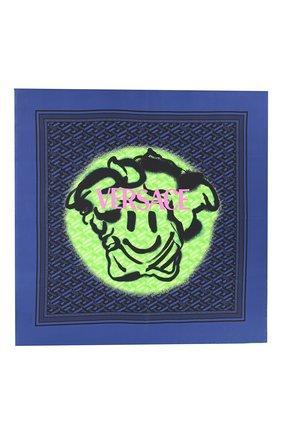 Женский шелковый платок VERSACE темно-синего цвета, арт. 1001600/1A01907   Фото 1