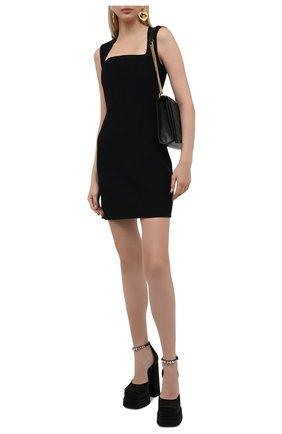 Женские текстильные туфли VERSACE черного цвета, арт. 1002005/DRA67 | Фото 2 (Материал внешний: Текстиль; Каблук тип: Устойчивый; Каблук высота: Высокий; Материал внутренний: Натуральная кожа; Подошва: Платформа)