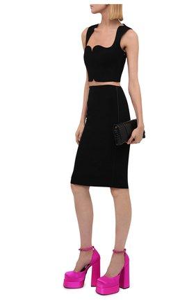 Женские текстильные туфли VERSACE фуксия цвета, арт. 1002005/DRA67 | Фото 2 (Материал внешний: Текстиль; Каблук тип: Устойчивый; Каблук высота: Высокий; Материал внутренний: Натуральная кожа; Подошва: Платформа)