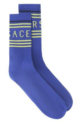 Женские хлопковые носки VERSACE синего цвета, арт. 1001541/1A01194 | Фото 1