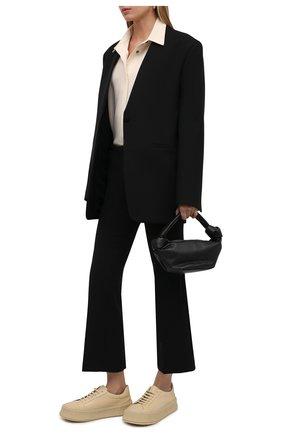 Женские кожаные кеды JIL SANDER светло-бежевого цвета, арт. JS32108A-14023 | Фото 2 (Материал внутренний: Натуральная кожа; Подошва: Платформа)